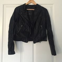 Black Motorcycle Jacket Never been worn, still has tags. Black faux leather jacket, really comfortable but it just wasn't for me. It's non-restricting like other leather jackets which is good:) not Zara, it's Aeropostale. Make me an offer! Zara Jackets & Coats