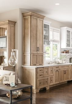 I'm loving this contrast!and love the tall cabinet on left. Lowes Kitchen Cabinets, Tall Cabinets, Colored Cabinets, Kitchen Cabinets Light Wood, Free Standing Kitchen Cabinets, Tall Kitchen Pantry Cabinet, Different Color Kitchen Cabinets, Types Of Kitchen Cabinets, Rustic Kitchen Cabinets