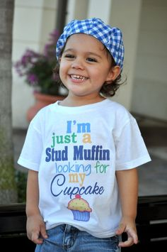 I'm just a Stud Muffin looking for my Cupcake - Funny Baby Boy ONESIE - Toddler Tee also available. $18.00, via Etsy.