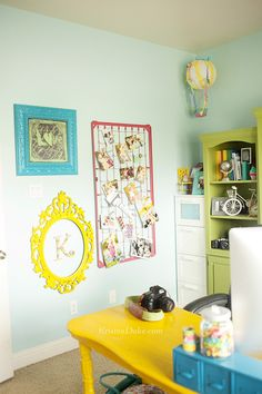 Colorful Home Office Makeover, so many fun details in this room