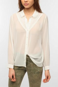Pins and Needles Pin Tuck Collar Blouse   #UrbanOutfitters