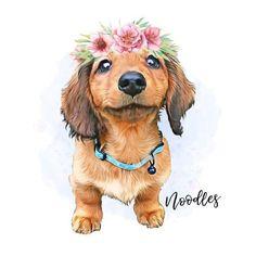 Custom Pet Portrait/ Flower crown/ Custom portrait/Pet memorial/ Christmas gift for girlfriend/ Dog lover gift/Dog art/Digital files Pet Loss Gifts, Dog Gifts, Pet Memorial Gifts, Dog Paintings, Dachshund Dog, Watercolor Animals, Dog Tattoos, Dog Portraits, Cute Baby Animals