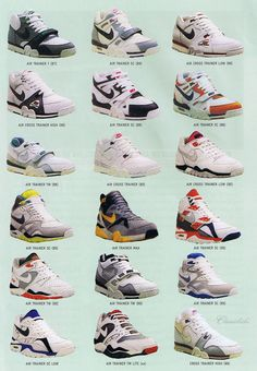 Web-site For Nike shoes! Vintage Sneakers, Retro Sneakers, Classic Sneakers, High Top Sneakers, Kicks Shoes, Shoes Sneakers, Bo Jackson Shoes, Nike Cross Trainers, Sneaker Posters