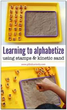 Learning to alphabetize using stamps and kinetic sand   teaching the alphabet   literacy skills kids need   alphabetization activities for kids    Gift of Curiosity