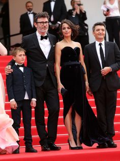 Abdul Khlim Mamamtsuiev, Michel Hazanavicius, Berenice Bejo, Thomas Langmann attend 'The Search' premiere during the 67th Annual Cannes Film Festival on May 21, 2014 in Cannes, France.