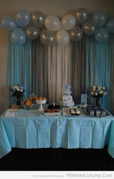 Baby Shower or bday: Balloons & Streamers Backdrop! Saving all the pink and purp… Baby Shower or bday: Balloons & Streamers Backdrop! Saving all the pink and purple ballons from my sons bday for this Party Kulissen, Baby Party, Shower Party, Baby Shower Parties, Party Time, Ideas Party, Fun Ideas, Baby Shower Boys, Party Drinks