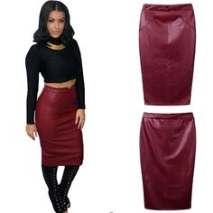 9.29$  Buy here - http://aiurm.worlditems.win/all/product.php?id=G1413BU-S - Europe Sexy Women Skirt PU Leather Solid Color Midi Pencil Skirts OL Casual Slim Clubwear Coffee