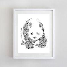 Panda Watercolor Print  - Panda Art - Black and White - Home Decor - Girl's Wall Decor - Floral Panda Painting