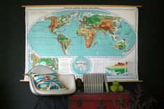 Classroom Pull Down Map of the World, $145