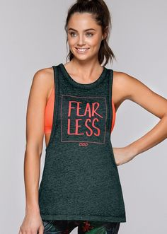 a75519ff9b Be fearless in showing off your favorite LJ sports bra under this relaxed  fit tank.