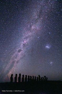 Tongariki Moai at Night - Milky Way & Magallan Galaxies 2 Easter Island, by Wally Pacholka