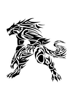 Werewolf tattoo I want Tribal Animal Tattoos, Tribal Drawings, Tribal Art, Tattoo Drawings, Fenrir Tattoo, Werewolf Tattoo, Werewolf Art, Dragon Tattoo Designs, Tribal Tattoo Designs