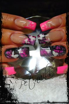pink and black nail art with white butterflies