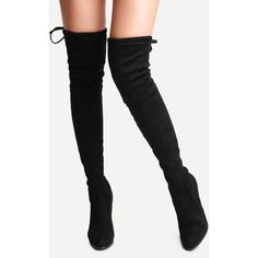 SheIn(sheinside) Black Suede Point Toe Lace Up Over The Knee Boots ($49) ❤ liked on Polyvore featuring shoes, boots, over the knee high heel boots, suede thigh-high boots, thigh high heel boots, over the knee boots and winter boots