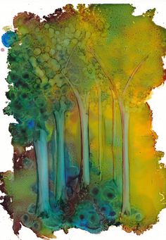 The enchanted forrest - a painting in alcohol ink - 8 1/4 x 5 3/4    Created with alcohol inks on Yupo paper. Alcohol ink is a beautiful medium, but hard