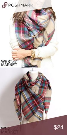 """-BACK SOON-  Plaid Blanket Scarf Plaid blanket scarf with cashmere & acrylic. Exceptionally soft fabric! 55x55 inches. We cannot accept discounted offers on items marked """"Boutique""""! West Market SF Accessories Scarves & Wraps"""