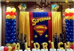 Festa super-homem: 30 ideias poderosas para fazer a sua! : ᐅ Mil dicas de mãe Superman Birthday Party, Superhero Party, Boy Birthday Parties, Superman Party Decorations, Birthday Party Decorations, Party Themes, Party Ideas, Superman Baby Shower, Batman
