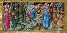 Inferno, canto XVII. La Divina Commedia di Alfonso d'Aragona' (XV secolo), British Library, Londra