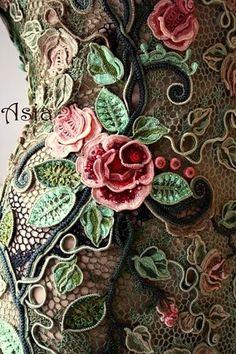 ༺✿ ღ ✿༻ Vestido Bordado em Crochê -  /  ༺✿ ღ ✿༻ Dress Embroidery Crochet -