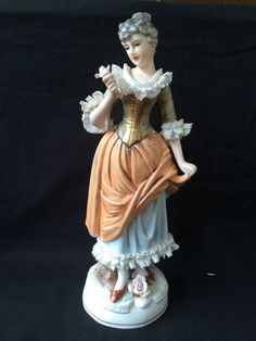 vintage / antique porcelain lady with lace . Beautiful !  #dresden #unknown