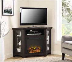 Espresso Corner Fireplace TV Stand Entertainment Center Wood Finish Sturdy New #Doesnotapply #Fireplace #TvStand #EntertainmentCenter #Furniture