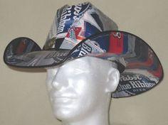 Pabst Blue Ribbon PBR Beer Box Cowboy Hat Party NASCAR