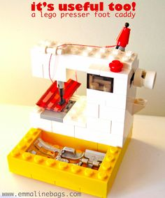 Emmaline Bags: Sewing Patterns and Purse Supplies: A Useful Lego Sewing Machine! Vintage Sewing Notions, Vintage Sewing Machines, Sewing Spaces, Sewing Rooms, Lego Projects, Sewing Projects, Sewing Tips, Tatting Patterns, Sewing Patterns