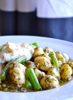 Creamy Pesto Gnocchi with Peppered Green Beans
