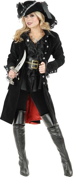 Adult Black Pirate Vixen Coat - Party City