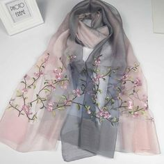 Material: Real Silk Pattern: Floral Embroidery Size: 85cm * 190cm Embroidery Scarf, Floral Embroidery, Embroidery Patterns, Look Fashion, Skirt Fashion, Hijab Fashion, Diy Fashion, Kurta Patterns, Stylish Dress Designs