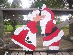 Kissing Mr and Mrs Santa Claus Couple Christmas 2 piece Yard Lawn Art Ornament DecorationHand cut and hand painted wood yard art for all seasons by LeeMissyYardArtEtsy :: Your place to buy and sell all things handmade Christmas Lawn Decorations, Christmas Yard Art, Christmas Wood Crafts, Christmas Couple, Yard Decorations, Rustic Christmas, Christmas Christmas, Holiday, Santa And Reindeer
