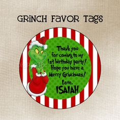 Grinch Favor Tags by dpdesigns2012 on Etsy, $5.00