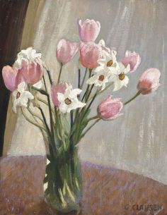 George Clausen (1852-1944) Tulips and narcissi, n/d. Oil on canvas.