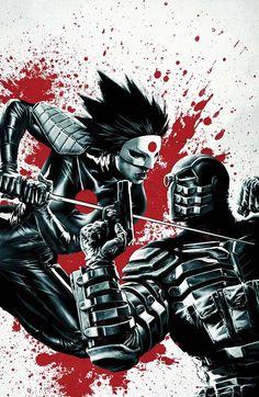 Deadshot vs Katana by Lee Bermejo Dc Comics Heroes, Comic Book Heroes, Comic Books Art, Comic Art, Book Art, Marvel Comics, Katana, Deadshot, Tatsu Yamashiro