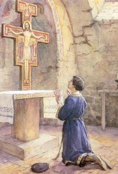 Haciendo oración en la Iglesia de San Damián, que estaba amenazando ruina, oyó una voz como que salía de un Crucifijo, que le mandaba reparase aquella Iglesia.