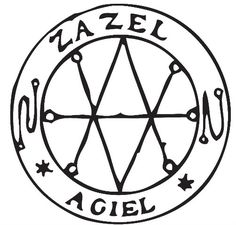 Traditional Seal of Saturn naming its two ruling spirits Zazel and Agiel