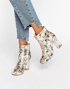 Public Desire Claudia Floral Clear Heeled Ankle Boots