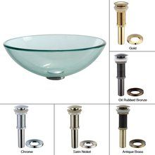 View the Kraus GV-101 16-1/2 Clear Glass Vessel Bathroom Sink - Includes Pop-Up Drain and Mounting Ring at FaucetDirect.com.