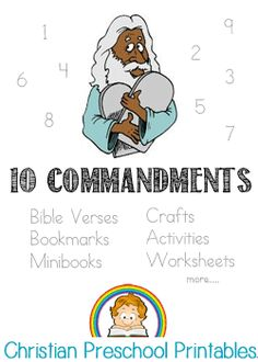 One of the founding moments in the Old Testament was when Moses was handed the Ten Commandments atop Mt. Children can learn these ten commandments with simple motions or visuals. In the New Testament, Christian Preschool Crafts, Preschool Bible, Preschool Printables, Preschool Lessons, Preschool Activities, Catholic Homeschooling, Catholic Kids, Church Office, Kids Church