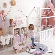Craft Pom Pom Fuzzy Creeping Non-Slit Carpet - Emilia F - Stauraum im Babyzimmer Baby Bedroom, Baby Room Decor, Nursery Room, Girls Bedroom, Girl Toddler Bedroom, Toddler Princess Room, Girl Nursery, Baby Room Design, Girl Bedroom Designs