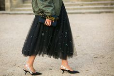 Fresh Street Style from Paris! Anouki Areshidze wears ANOUKI Tulle Hand-Embroidered skirt from Pre-Fall 2017 collection. Shop now on link in bio! Couture Week, Paris Couture, Kitten Heels Outfit, Heels Outfits, Fashion Outfits, Fashion Trends, Fasion, Street Style, Street Chic