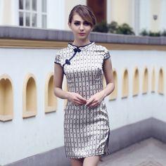 Appealing Stripes Silk Modern Cheongsam Qipao Dress - Qipao - Cheongsam - Women