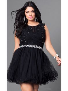 c7fa8eda562 A-Line Beaded Lace Tulle Short Black Plus Size Homecoming Prom Evening  Dresses 99502019 Plus