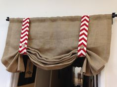 Red Burlap valance with chevron/home and by pillowpuff on Etsy, $59.00