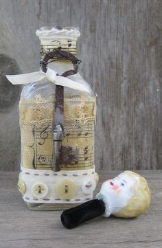 Altered Art Bottle - Blonde Haried Girl