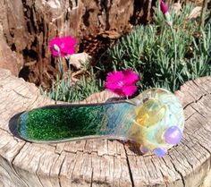 Evergreen Galaxy Glass Pipe Glass Smoking by FlabbaGlassDesigns
