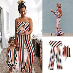 Family Matching Outfits 2019 Summer Striped Mother and Daughter Clothes Mom Off-shoulder Ruffle Long Jumpsuit Kids Girls Dresses Mother Daughter Matching Outfits, Mother Daughter Fashion, Matching Family Outfits, Mother Daughters, Matching Clothes, Striped Jumpsuit, Jumpsuit Dress, Saree Dress, Vestidos Para Baby Shower