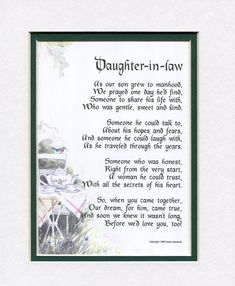 A Gift For A Daughter-in-law, Touching Poem, Double-matted In White/ Royal Blue, And Enhanced With Watercolor Graphics. Daughter In Law Quotes, Birthday Daughter In Law, Daughter In Law Gifts, Future Daughter, Brother Birthday, Brother Quotes, Daughters, Brother Sister, Wedding Poems