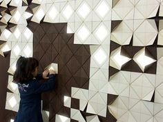 Light Form: Gorgeous Wood Wall Panels Flip Up to Reveal Light. By Francesca Rogers and Daniele Gualeni Design Studio Games Design, Interaktives Design, Milan Design, Design Studio, Wall Design, Graphic Design, Wood Panel Walls, Wood Wall, Design Facebook