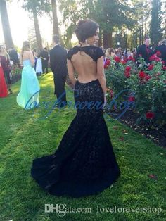 2015 Prom Dresses Scoop Mermaid Trumpet Black Lace Open Back Capped Sleeves Elegant Charming Prom Dress